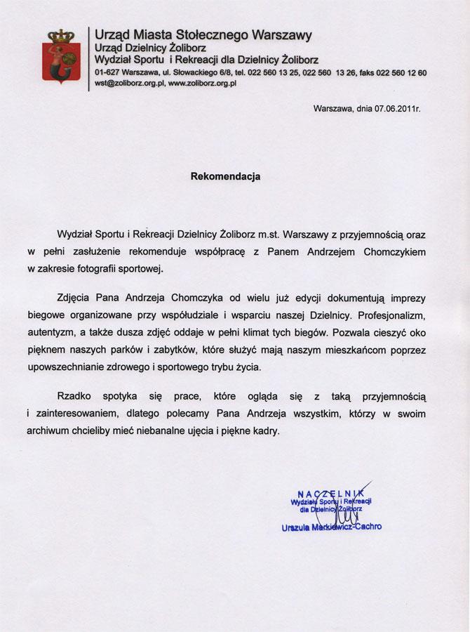 Rekomendacja Urzędu Miasta Stołecznego Warszawy Dzielnicy Żoliborz